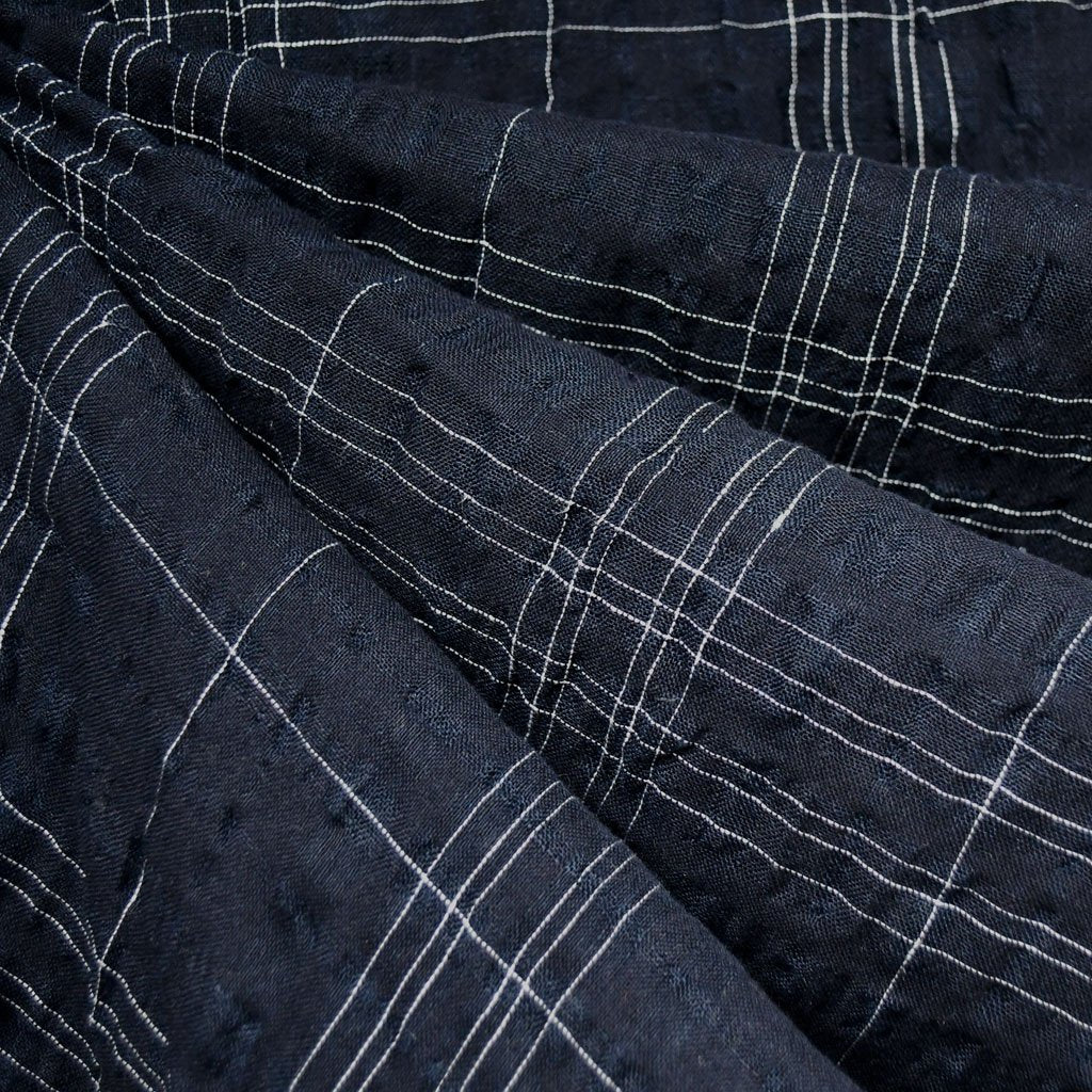 Plaid Linen Blend Crinkle Shirting Navy - Fabric - Style Maker Fabrics