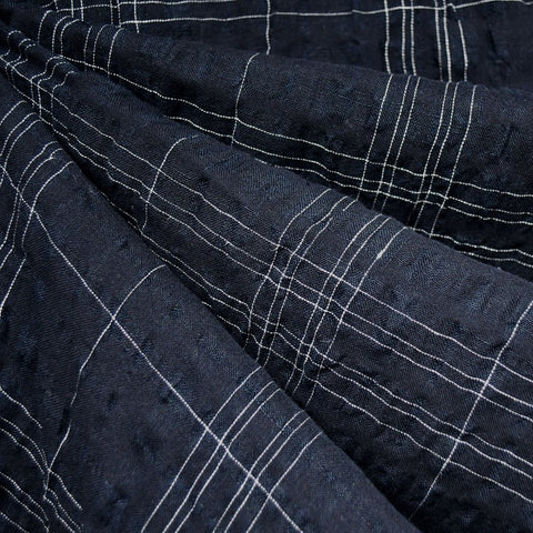 Plaid Linen Blend Crinkle Shirting Navy