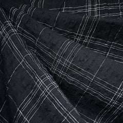Plaid Linen Blend Crinkle Shirting Black - Fabric - Style Maker Fabrics
