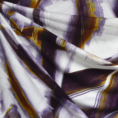 Graphic Lines Digital Print Rayon Jersey Plum/Mustard