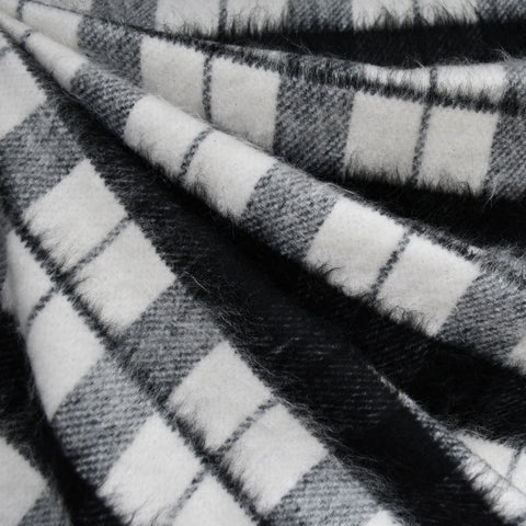 Cozy Plaid Wool Blend Coating Black/Cream
