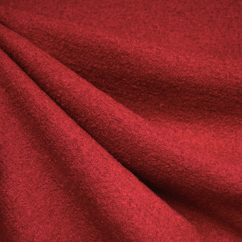 Boiled Wool Blend Coating Ruby Red
