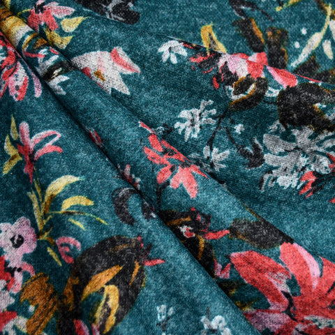 Brushstroke Floral Plush Double Knit Teal