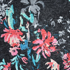 Brushstroke Floral Plush Double Knit Charcoal - Sold Out - Style Maker Fabrics