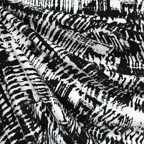 Abstract Art Bamboo Jersey Knit Black/White