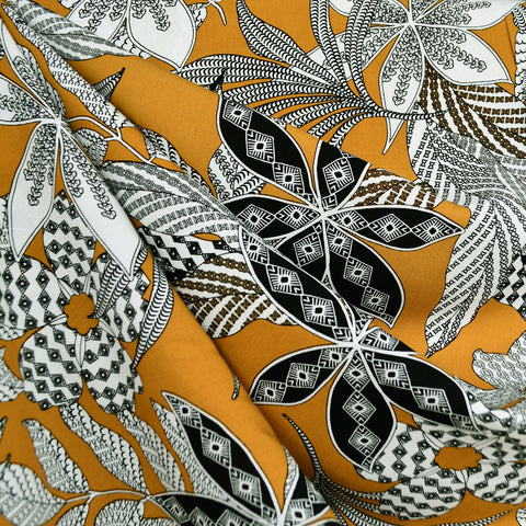 Graphic Tropical Leaves Rayon Challis Mustard/Black