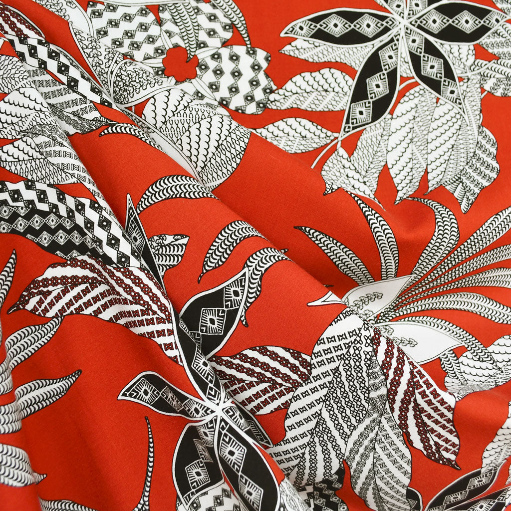 Graphic Tropical Leaves Rayon Challis Red/Black - Fabric - Style Maker Fabrics