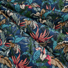 Forest Leaves Stretch Cotton Shirting Denim - Fabric - Style Maker Fabrics