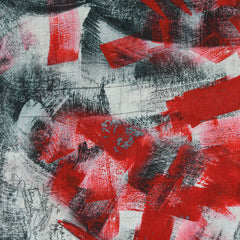 Modern Brushstroke Digital Print Linen Shirting Red - Fabric - Style Maker Fabrics