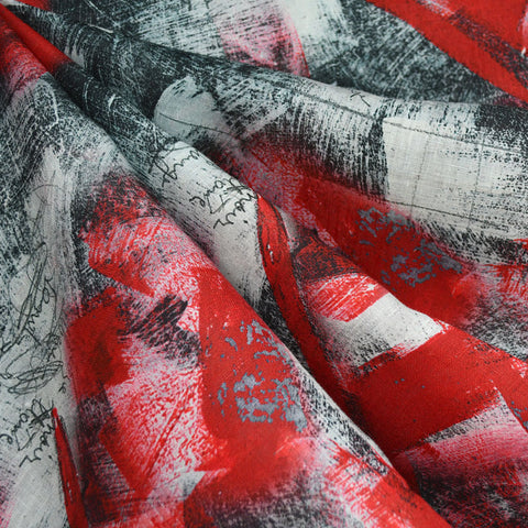 Modern Brushstroke Digital Print Linen Shirting Red