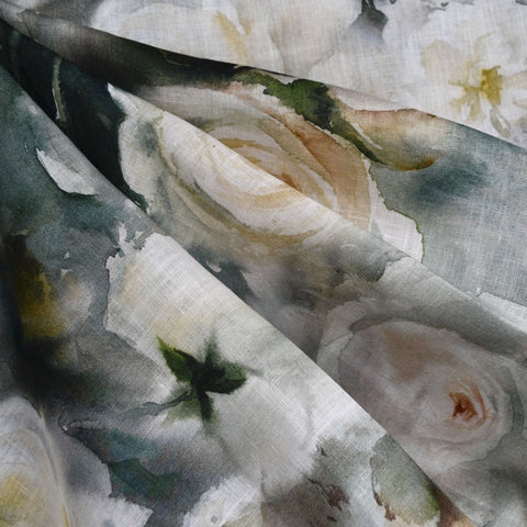 Watercolor Rose Digital Print Linen Shirting Sage