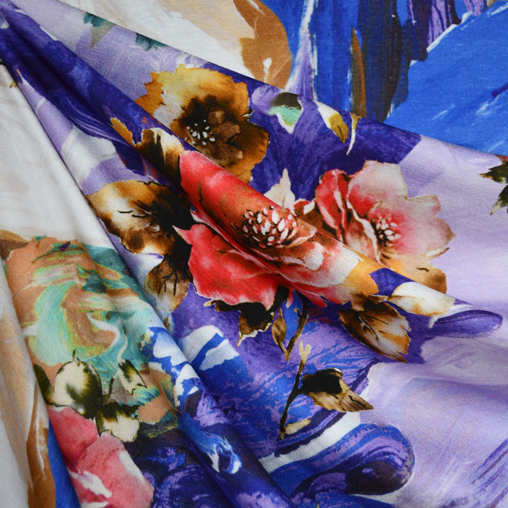 Abstract Layered Floral Digital Print Rayon Jersey Purple Style