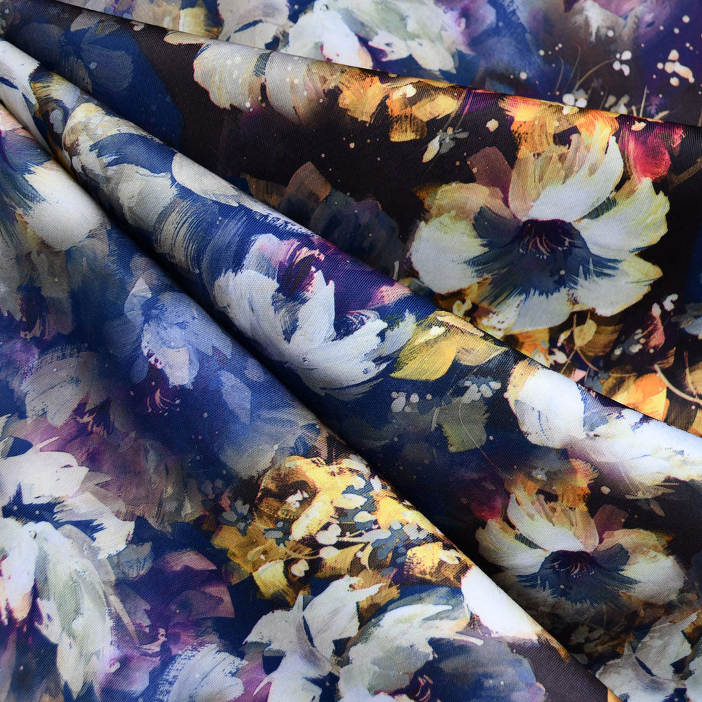 Brushstroke Floral Scuba Knit Purple/Mustard - Fabric - Style Maker Fabrics
