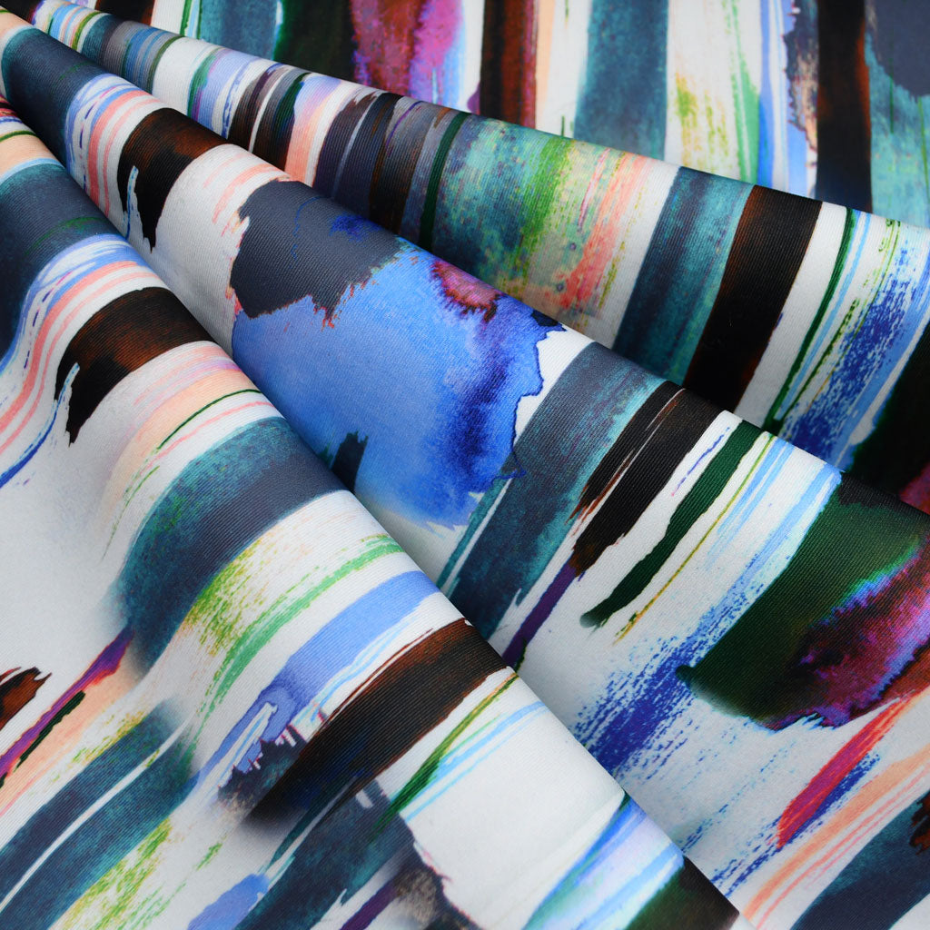 Watercolor Stripe Digital Print Scuba Knit Teal SY - Sold Out - Style Maker Fabrics