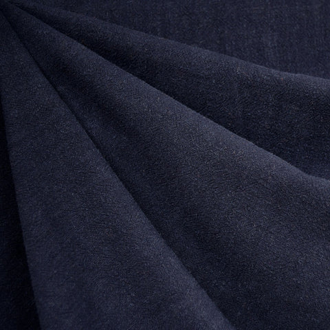 Slub Texture Linen Blend Solid Midnight SY