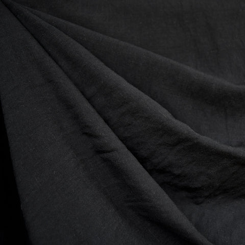 Linen Blend Textured Solid Shirting Black