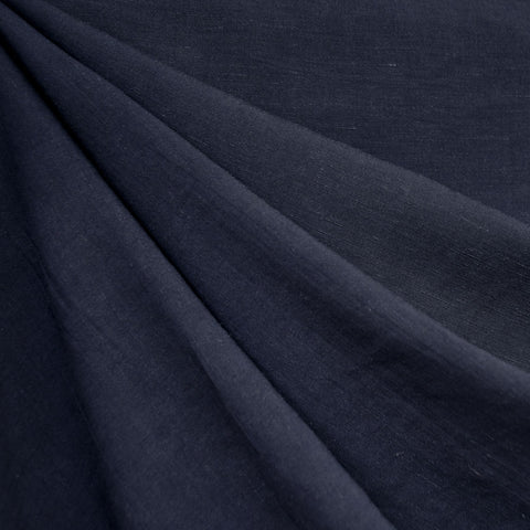 Linen Blend Textured Solid Shirting Navy