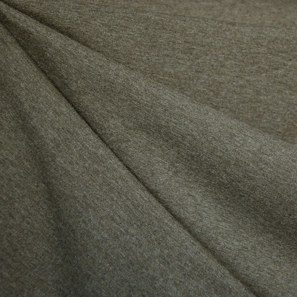 Organic Cotton Jersey Knit Heather Olive - Fabric - Style Maker Fabrics