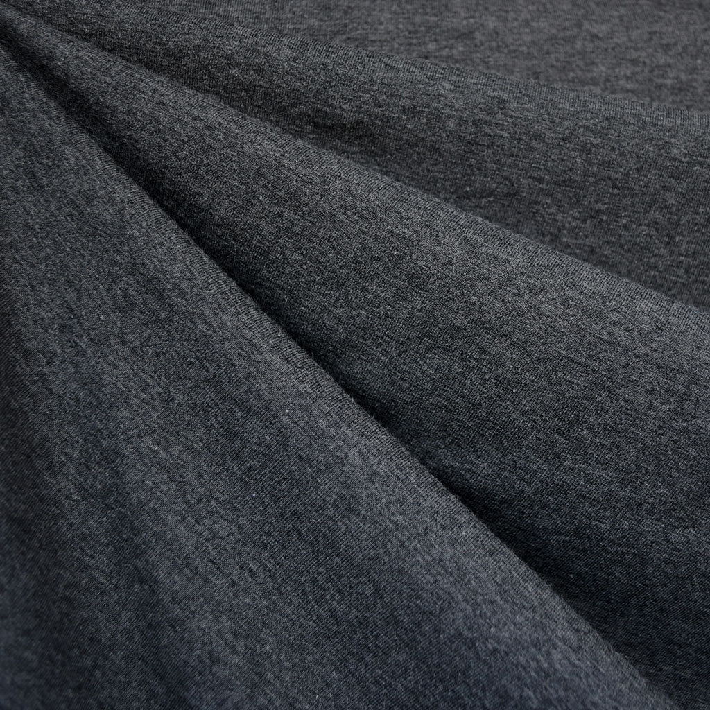 Organic Cotton Jersey Knit Heather Charcoal - Fabric - Style Maker Fabrics