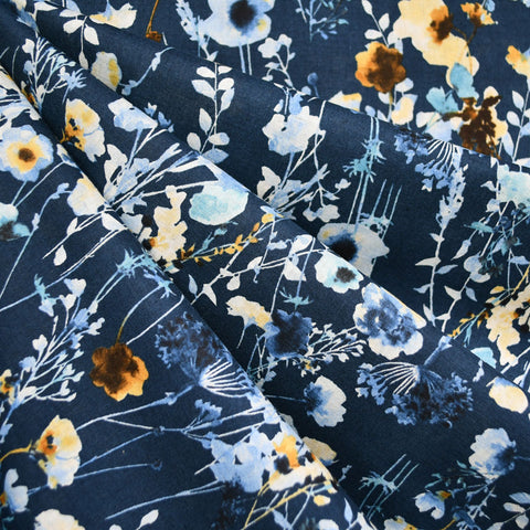 Japanese Kokka Watercolor Floral Lawn Navy