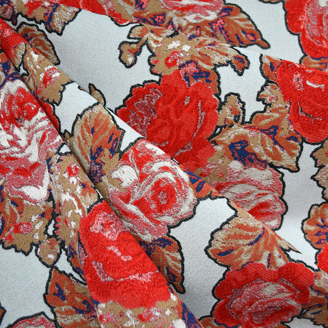 Holiday Rose French Brocade Red/Grey