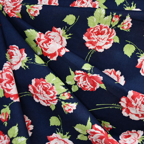Garden Roses Cotton Lawn Navy/Red