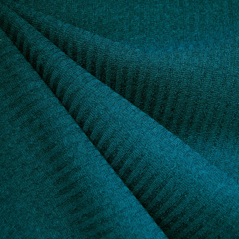 Plush Rib Sweater Knit Solid Teal