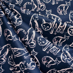 Japanese Cat Sketch Sateen Shirting Navy/Blush - Fabric - Style Maker Fabrics