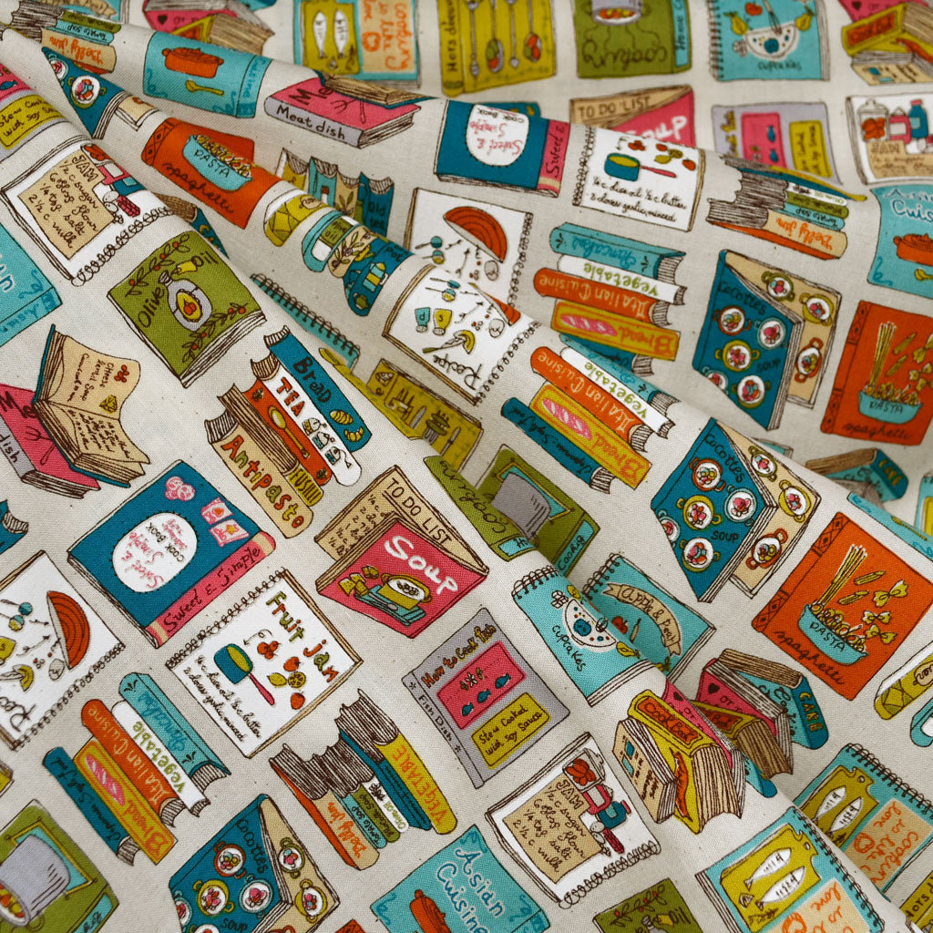 Japanese Culinary Library Cotton Turquoise - Fabric - Style Maker Fabrics