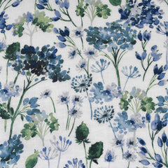 Japanese Watercolor Floral Soft Linen Shirting Blue - Sold Out - Style Maker Fabrics