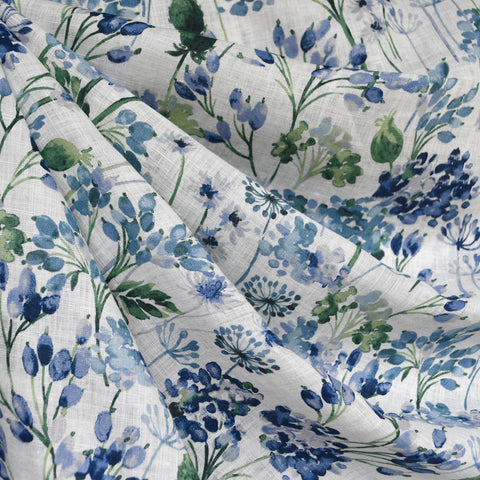 Japanese Watercolor Floral Soft Linen Shirting Blue