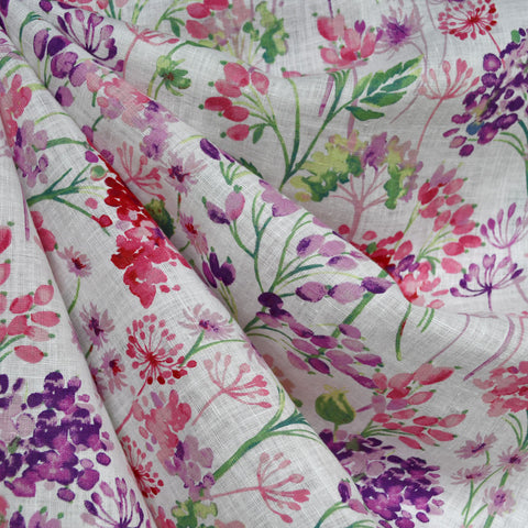 Japanese Watercolor Floral Soft Linen Shirting Fuchsia