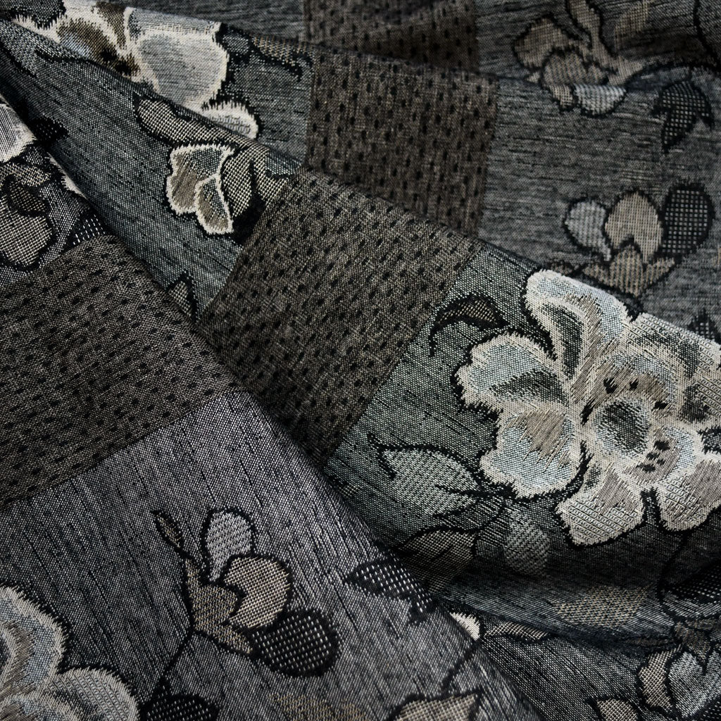 Japanese Jacquard Floral Stripe Black/Taupe - Fabric - Style Maker Fabrics