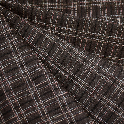 Japanese Yarn Dyed Textured Plaid Shirting Chocolate SY