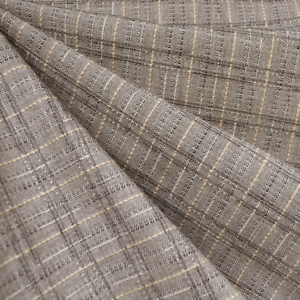 Japanese Yarn Dyed Textured Plaid Shirting Taupe - Sold Out - Style Maker Fabrics