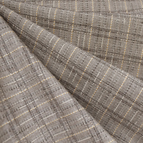 Japanese Yarn Dyed Textured Plaid Shirting Taupe