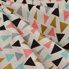 Japanese Triangle Confetti Canvas Natural/Gold - Fabric - Style Maker Fabrics