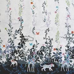 Japanese Colorful Jungle Double Border Linen Blend Black/Lavender - Fabric - Style Maker Fabrics