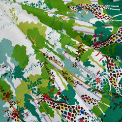 Japanese Colorful Jungle Double Border Linen Blend Green SY - Sold Out - Style Maker Fabrics