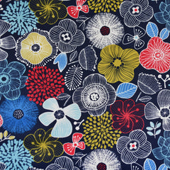 Japanese Sketch Floral Nylon Coating Navy - Fabric - Style Maker Fabrics