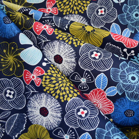 Japanese Sketch Floral Nylon Coating Navy