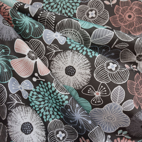 Japanese Sketch Floral Nylon Coating Grey