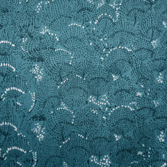 Japanese Nani Iro Situation Floral Sateen Teal - Fabric - Style Maker Fabrics