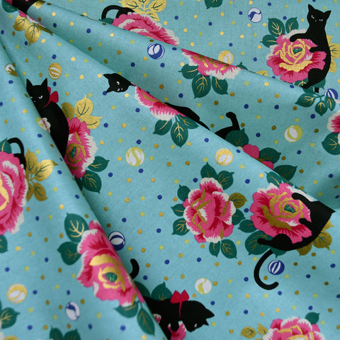 Japanese Playful Cat Floral Cotton Turquoise