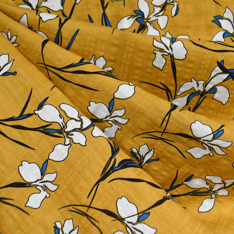 Iris Floral Textured Voile Shirting Mustard SY