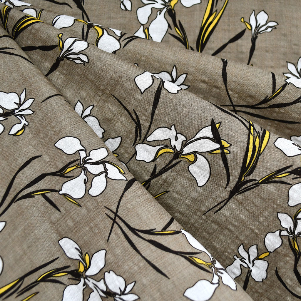 Iris Floral Textured Voile Shirting Taupe SY - Sold Out - Style Maker Fabrics