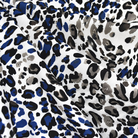 Brushstroke Animal Print Rayon Challis Blue/Grey