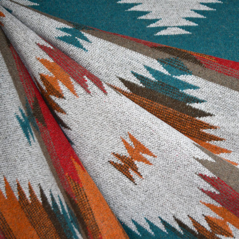 Reversible Southwest Inspired Wool Blend Coating Teal