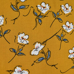 Sketch Floral Rayon Crepe Mustard - Fabric - Style Maker Fabrics