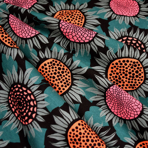 Front Yard Sunflowers Jersey Knit Teal